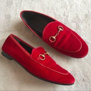 Gucci Jordaan Red Velvet Horsebit Loafers Flats